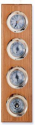 Clock, Barometer, Thermometer & Hygrometer Brass Weather Station on Oak Wood Base
