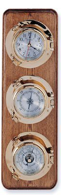 Clock, Barometer & Thermometer Brass Porthole Weather Station on Oak Wood Base