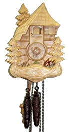 August Schwer Cuckoo Clock Black Forest House, Deer, Bench