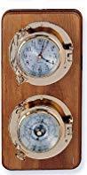 Quartz Clock & Barometer Weather Station on Oak Wood Base