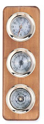 Clock, Barometer & Thermometer Brass Weather Station on Oak Wood Base