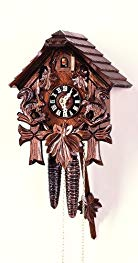 August Schwer Cuckoo Clock House, three Leaves, Squirrel