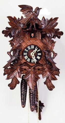August Schwer Cuckoo Clock Seven leaves, three birds, deep carvings