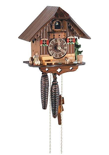 1-Day Black Forest House Cuckoo Clock w Shut-off Lever