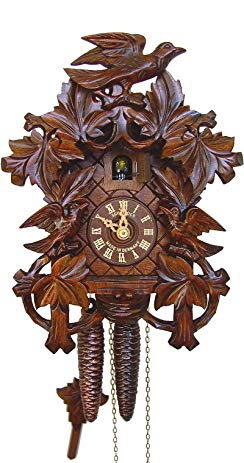 Anton Schneider Cuckoo Clock 8 Leaves, 3 Birds, Nest