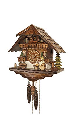 Engstler Cuckoo Clock Black Forest house with moving beer drinker EN 4592